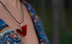 Neck pendant - Red accent by  PAKA BINTI | Flamingolandia