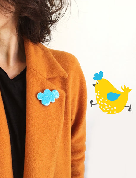 Handmade accesories VIŠTA - The Sky running with chicken - Brooch | Flamingolandia