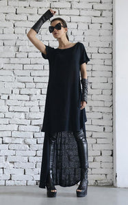 Extravagant asymmetric black tunic | META series,Sweater | Women fashio shop|  Flamingolandia.online