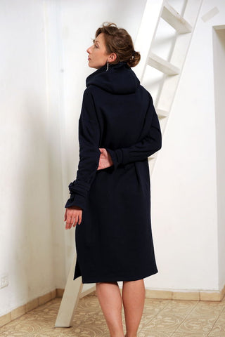Hooded navy blue  dress  I   Whoosh,dress | Women fashio shop|  Flamingolandia.online