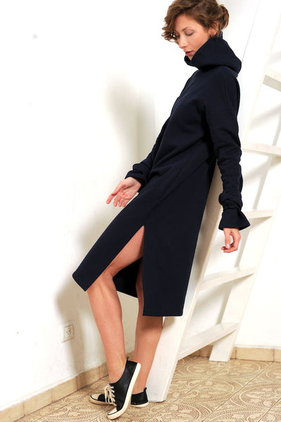 Hooded navy blue  dress  I   Whooshdress - Flamingolandia.online