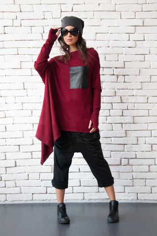 Oversize asymmetric burgundy tunic  | META series,Sweater | Women fashio shop|  Flamingolandia.online