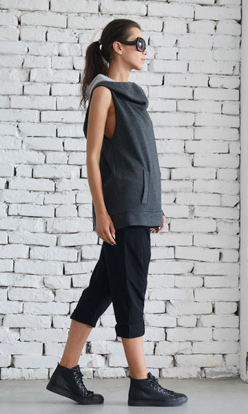 Extravagant sleeveless grey tunic | META series,Sweater | Women fashio shop|  Flamingolandia.online