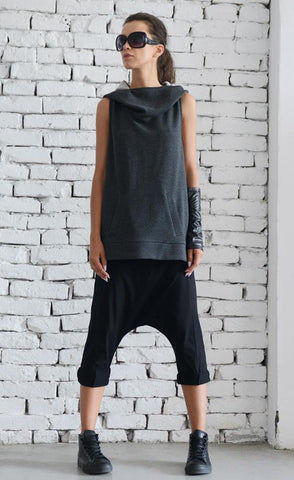 Extravagant sleeveless grey tunic | META series,Sweater- Flamingolandia.online