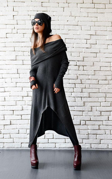 Dark grey long loose tunic open shoulders | META seriestunic - Flamingolandia.online