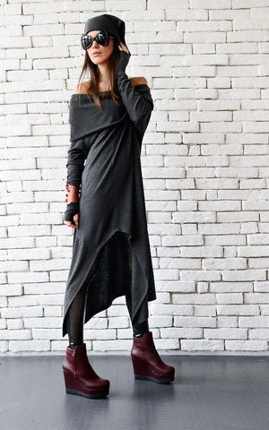 Dark grey long loose tunic open shoulders | META series,tunic | Women fashio shop|  Flamingolandia.online