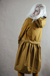 Hooded asymmetric mustard yellow dress | InModum,dress | Women fashio shop|  Flamingolandia.online