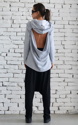 Open back grey hoodie  | META series,Sweater | Women fashio shop|  Flamingolandia.online