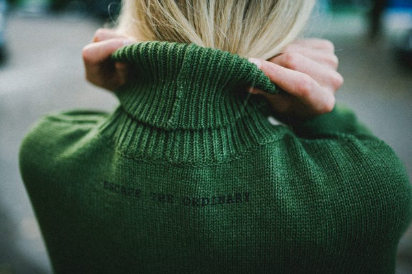 """Green Hill"" –  Wool cotton oversized long sweater 