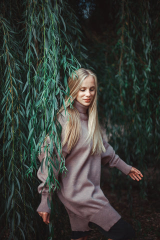"""Lilac"" –  Wool  oversized long sweater 