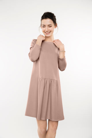 Nude simple dress MILK,dress | Women fashio shop|  Flamingolandia.online
