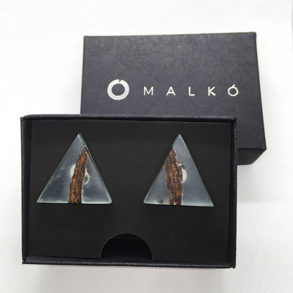 Silver and epoxy resin earrings MALKO - Sky blue Oak stripes | Flamingolandia