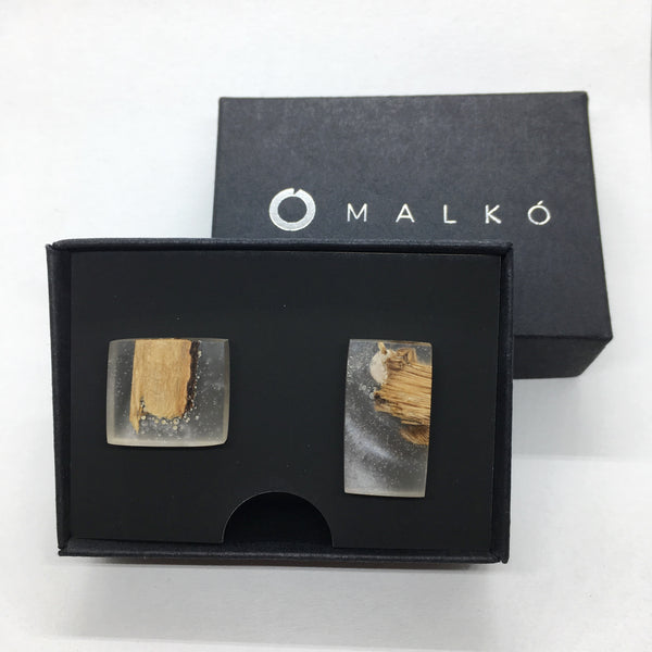 Silver and epoxy resin earrings MALKO - Nacreous oak,earrings | Women fashio shop|  Flamingolandia.online