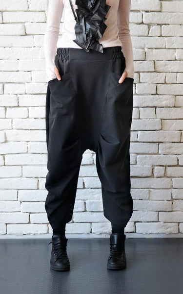 Cold wool drop croth black pants | META series | Flamingolandia