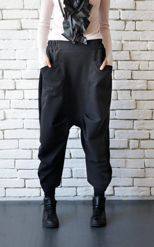 Cold wool drop croth black pants | META series,Pants- Flamingolandia.online