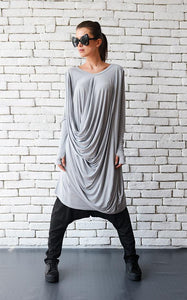 Light grey long loose tunic | META seriestunic - Flamingolandia.online
