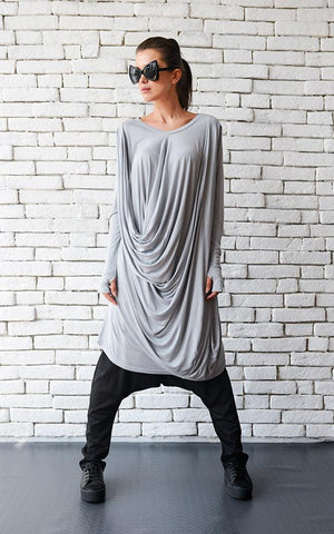 Light grey long loose tunic | META series,tunic | Women fashio shop|  Flamingolandia.online