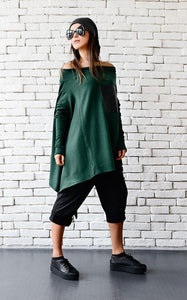 Oversize asymmetric dark green tunic  | META series | Flamingolandia