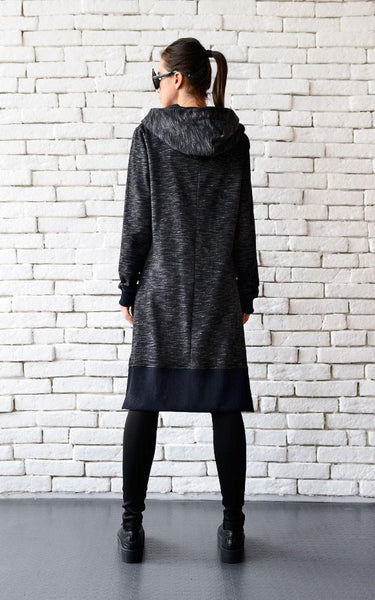 Oversize black warm hoodie  | META series | Flamingolandia