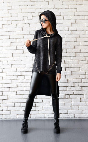 Oversize black warm hoodie  | META series,Sweater | Women fashio shop|  Flamingolandia.online