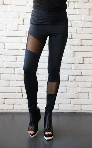 Black cigarrete pants in a mesh design | META seriesLeggings - Flamingolandia.online