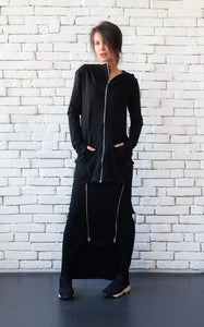 Casual black hooded top | META series,Sweater | Women fashio shop|  Flamingolandia.online