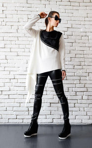 Black & White collar zipped  tunic | META seriestunic - Flamingolandia.online