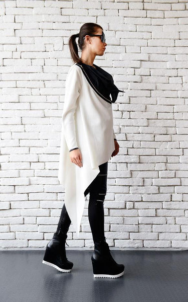 Black & White collar zipped  tunic | META series | Flamingolandia