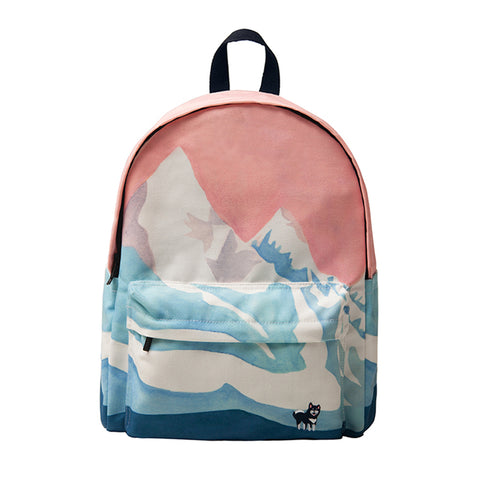 Canvas backpack - Snowy mountains,- Flamingolandia.online