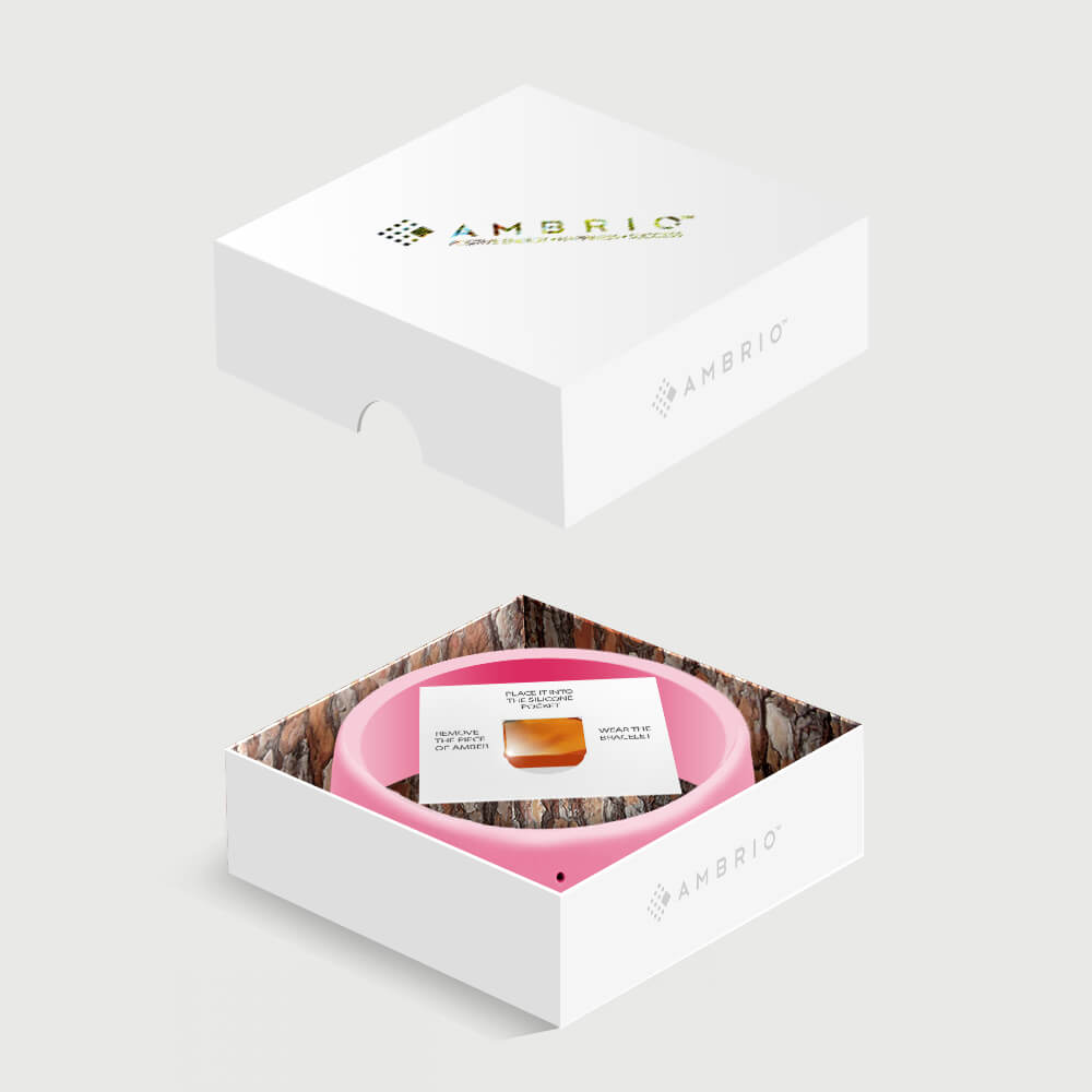 AMBRIO - Your unique amulet of luck - pink bracelet with authentic amber | Flamingolandia