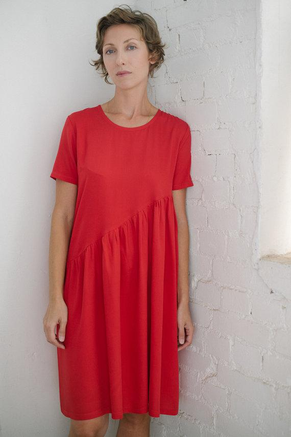 Asymmetric mini red dress  I  Whoosh - Flamingolandia.online