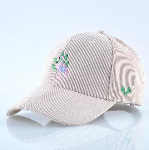 Be fashionable with a Corduroy Flamingo Cap | Flamingolandia