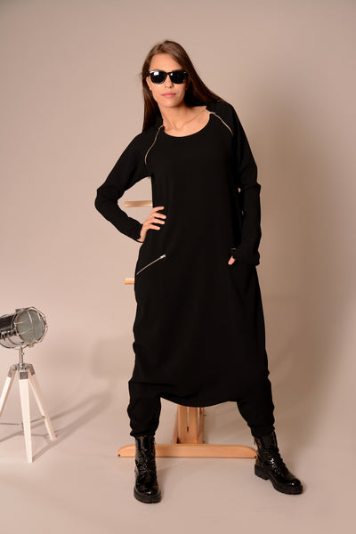 Drop crotch black loose overall | Danellys ღ,jumpsuit | Women fashio shop|  Flamingolandia.online