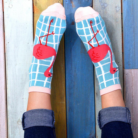 Blue check walk crazy flamingo socks | Flamingolandia