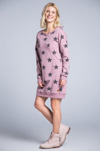 Breastfeeding open back  pink dress -  STARS!breastfeeding hoodie dress - Flamingolandia.online