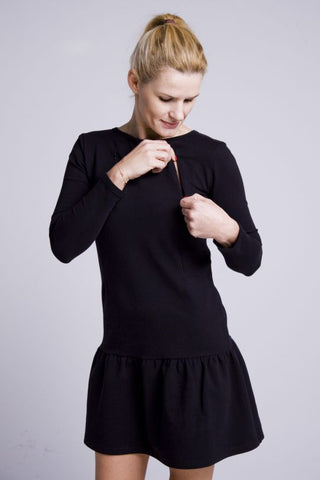Breastfeeding black dress with flounce | Flamingolandia