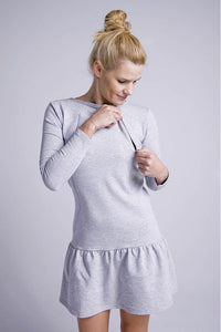 Breastfeeding grey dress with flounce | Flamingolandia