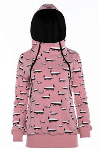Breastfeeding pink cozy hoodie - Badgers attack! | Flamingolandia