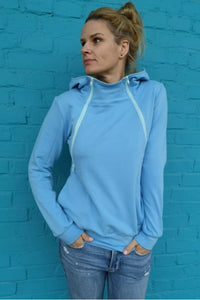 Breastfeeding cozy hoodie - Something ocean blue! | Flamingolandia