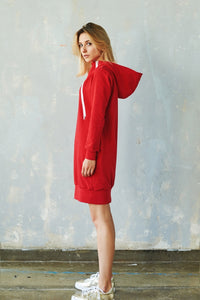 Breastfeeding trendy hoodie dress- RED! | Flamingolandia