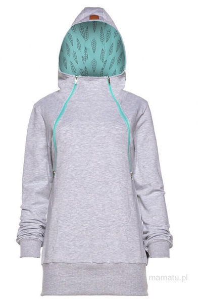 Breastfeeding grey cozy hoodie - MINT leaves!