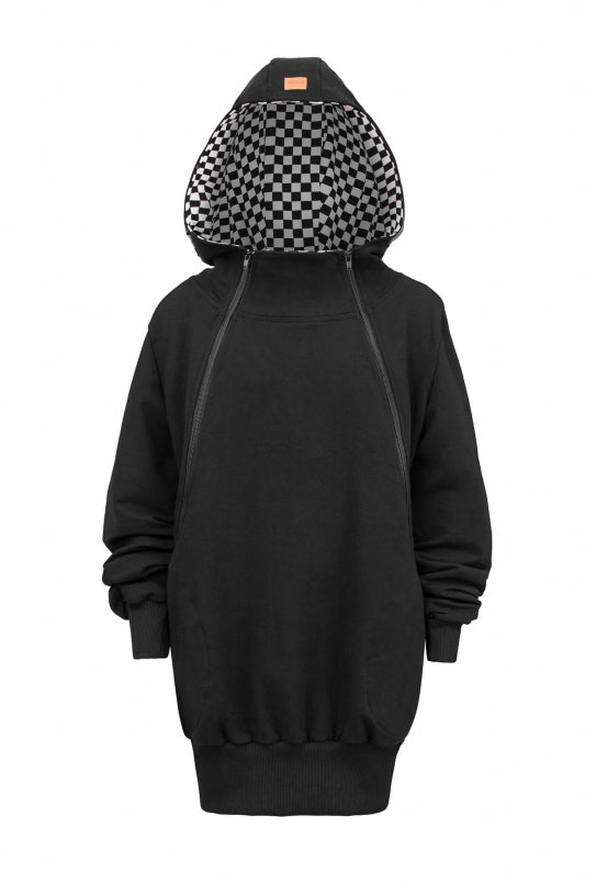 Breastfeeding cozy hoodie - Black checker! | Flamingolandia