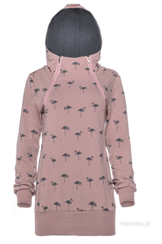 Breastfeeding cozy hoodie - The Flamingo family grey hood limited edtion!