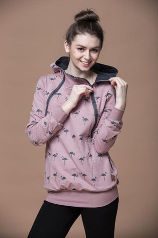 Breastfeeding cozy hoodie - The Flamingo family!breastfeeding hoodie - Flamingolandia.online