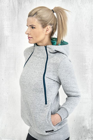 Breastfeeding grey cozy hoodie - Green love! | Flamingolandia