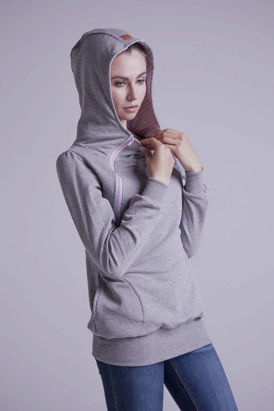 Breastfeeding light grey hoodie - Rose pink!,breastfeeding hoodie | Women fashio shop|  Flamingolandia.online