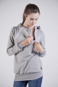 Breastfeeding light grey hoodie - Rose pink! | Flamingolandia
