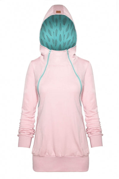 Breastfeeding light pink cozy hoodie - MINT leaves!