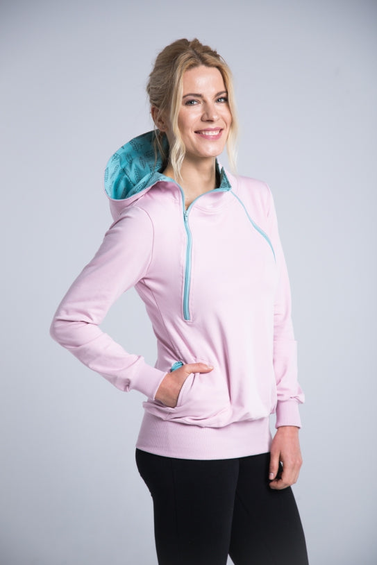 Breastfeeding light pink cozy hoodie - MINT leaves! | Flamingolandia