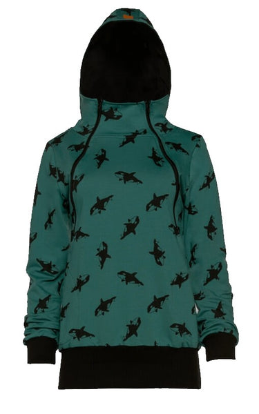 Breastfeeding green hoodie - ORCA! | Flamingolandia